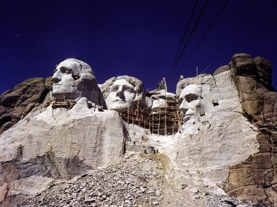 A view of Mount Rushmore under construction, c.1938-1939