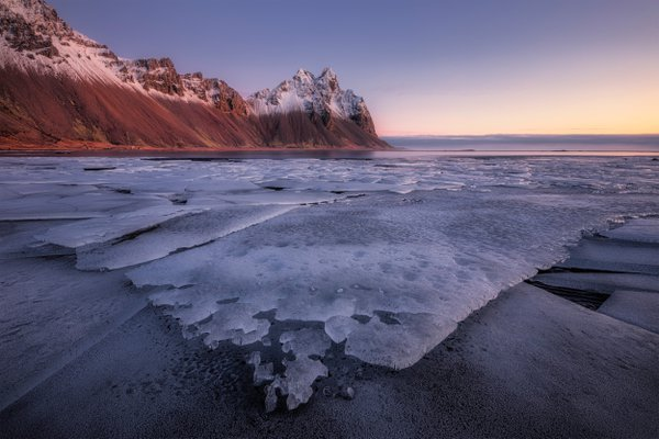 Frosty morning at Stokssnes peninsula in Iceland