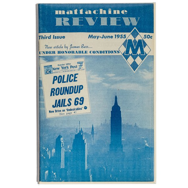 Blue and white printed cover of the Mattachine Review featuring New York skyline