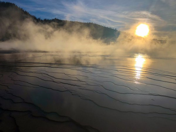 Yellowstone's Grand Prismatic Spring at Sunset thumbnail