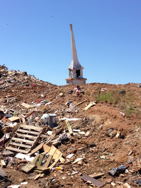 Storm damaged church steeple at the landfill thumbnail