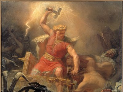 Thor's Fight with the Giants by M.E. Winge, 1872