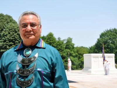 Captain Jefferson Keel (U.S. Army retired), Lieutenant Governor of the Chickasaw Nation, visiting the Tomb of the Unknown Soldier at Arlington National Cemetery. (Courtesy of Jefferson Keel)