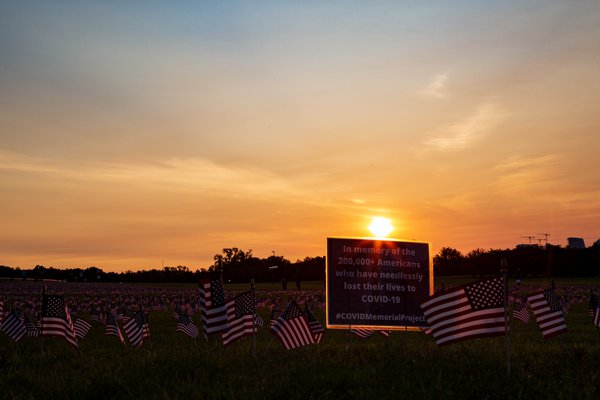 Sunset at the Washington Monument grounds, where 20,000 flags placed to remember COVID-19 victims thumbnail
