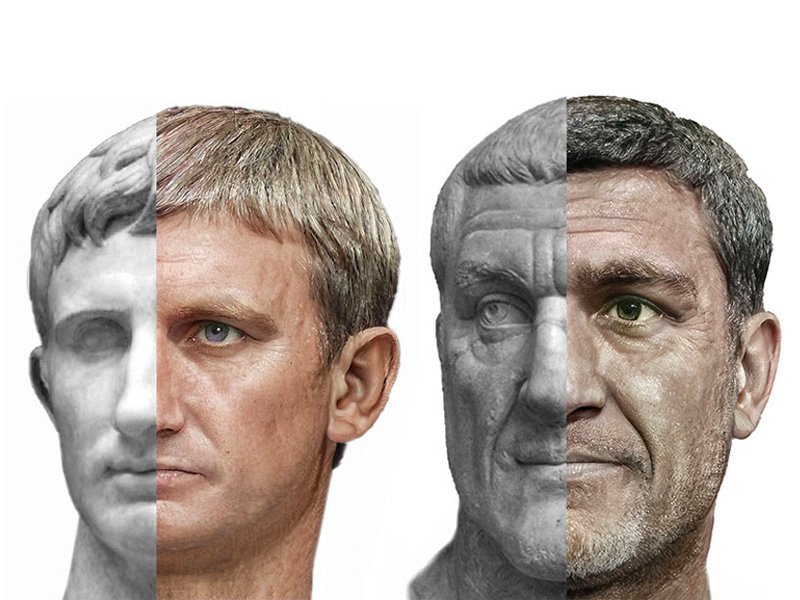 Composite portraits of Augustus (left) and Maximinus Thrax (right)