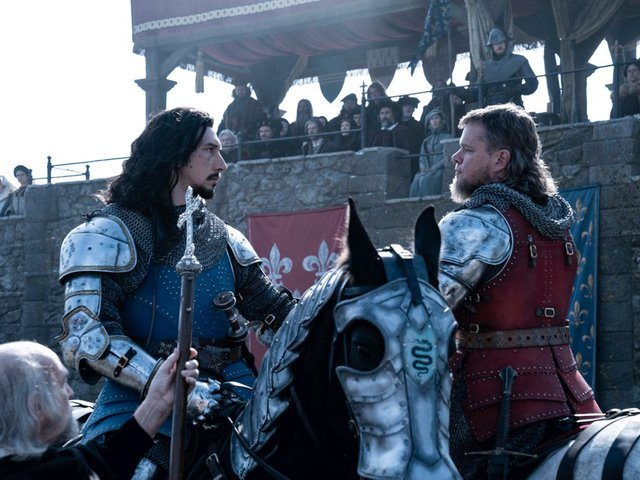 Adam Driver (left) plays Jacques Le Gris, a French squire accused of raping Marguerite, wife of knight Jean de Carrouges (right, played by Matt Damon).