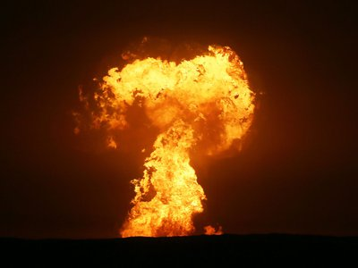 An explosion seen off the Caspian Sea on July Fourth was attributed to a mud volcano eruption.