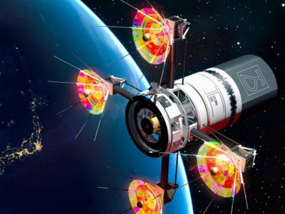 """Artist Yoshi Sodeoka envisions musical instruments carried in satellites orbiting the Earth that would be able to """"neutralize nations at war."""""""