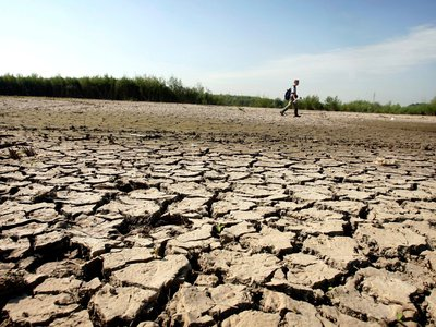 A bird watcher walks through a dried-up riverbed in the Netherlands in 2007.