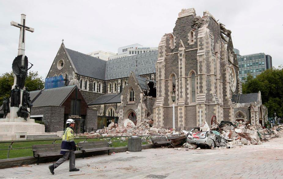 Christchurch Cathedral in New Zealand partially collapsed after a 2011 earthquake.