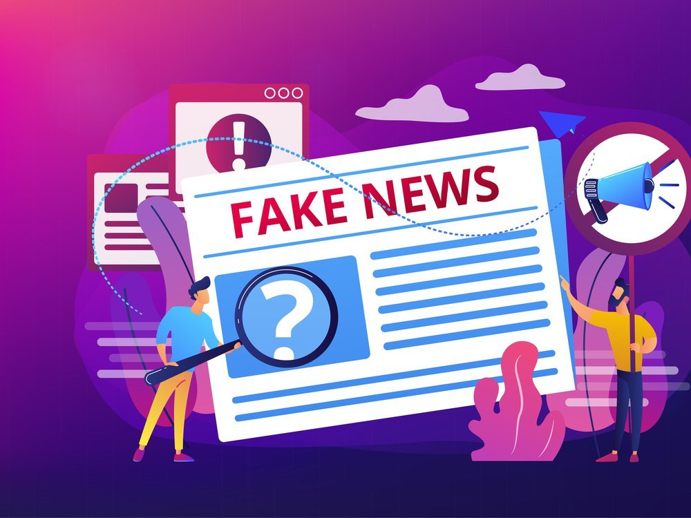 graphic showing a cartoon with a magnifying glass inspecting a newspaper with the headline 'Fake News'
