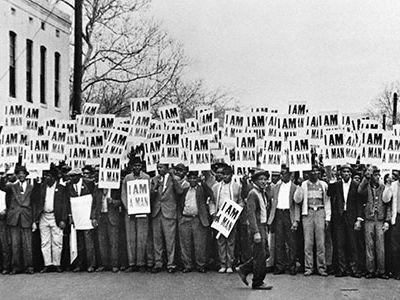 I Am A Man, Sanitation workers assemble outside Clayborn Temple, Memphis, TN, 1968.
