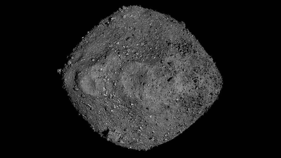 An image of Bennu against the dark backdrop of space
