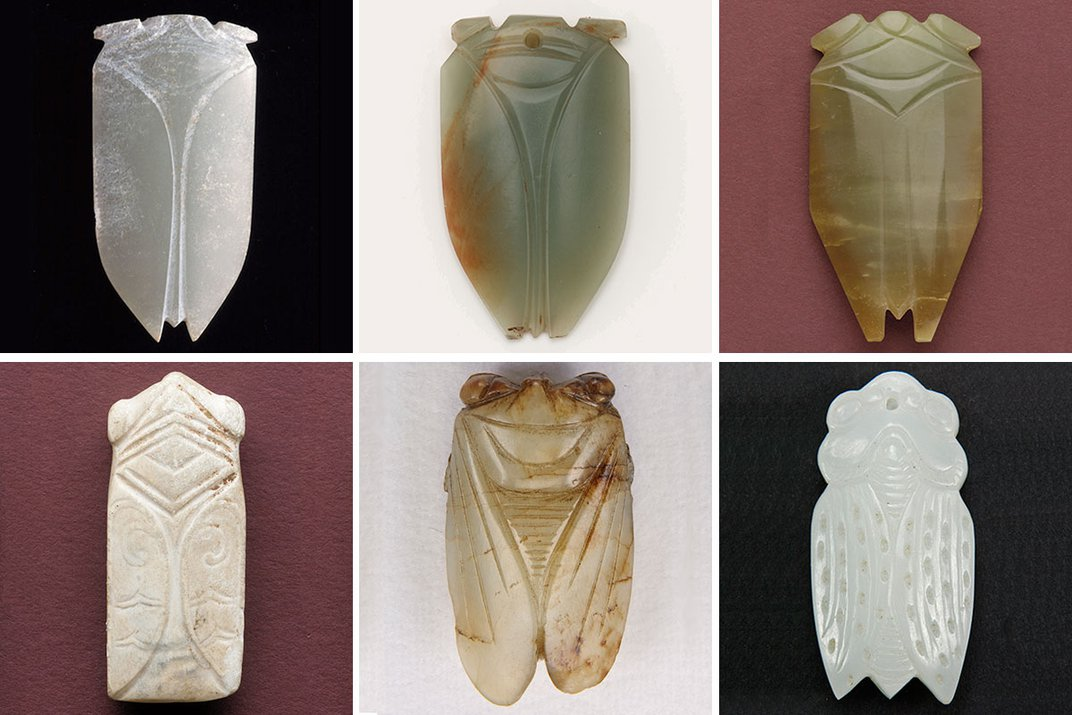 Six images in a grid of six stylized cicada figures carved in stone.