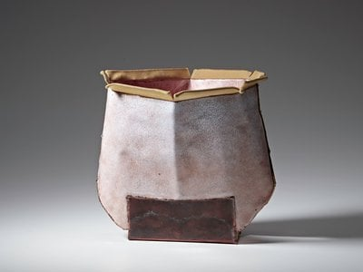 Vessel (#2309) by June Schwarcz, 2006, electroplated copper foil and enamel, gold plated