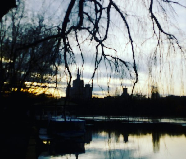 Tale scenery mirrored above a park lake in March. thumbnail