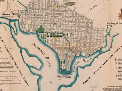 Shaped mostly like a diamond, Washington, D.C. is organized by geographical divides centered on the U.S. Capitol and the White House, using mathematical principles employed by the original designer, Pierre Charles L'Enfant.