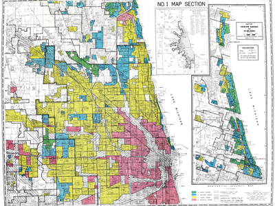 """In one example of redlining, this Home Owners' Loan Corporation map depicts part of Chicago, Illinois and labels neighborhoods as """"hazardous"""" (red) or """"best"""" (green). Borrowers could be denied access to credit if their homes or businesses were located in """"hazardous"""" neighborhoods, typically economically disadvantaged neighborhoods with large minority populations."""