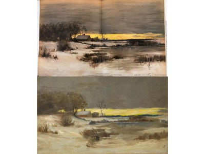 Bruce Crane, A Winter Sunset c.1880s (top) and Edward Hopper, Old Ice Pond at Nyack, c.1897 (bottom)