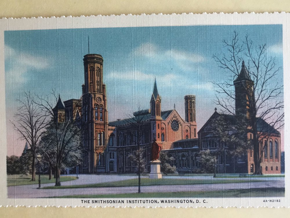 Postcard of the Smithsonian Institution Castle sent in 1939 from my mom in Washington, D.C. to my uncles in Casper, Wyoming—nearly 80 years before I started working at the Smithsonian. (Kirk Johnson)