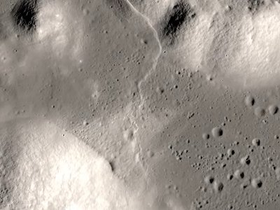 The Lee Lincoln Scarp, one of the potentially active faults on the Moon.