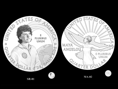 Astronaut Sally Ride (left) and poet Maya Angelou (right) will be the first individuals honored through the American Women Quarters Program.