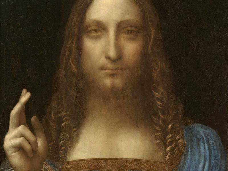 Close-up view of Salvator Mundi