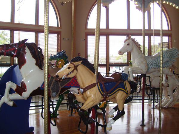 Horses running wild as I enjoyed the Amazing Carousel at Albany Carousel & Museum one day. thumbnail