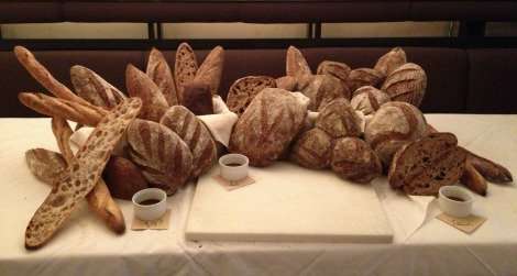 A display of whole wheat bread at the Washington State University-Mount Vernon Bread Lab, in Blue Hill, New York