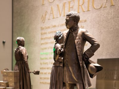 A statue of Benjamin Bannecker on view at the Smithsonian's National Museum of African American History and Culture, as seen in 2020
