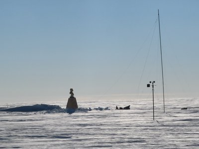 The Southern Pole of Inaccessibility. The thing sticking up in the middle is the bust of Lenin.