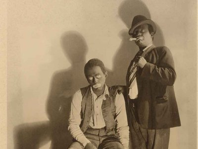 """Freeman Fisher Gosden and Charles Correll, c. 1935 (detail), as """"Amos and Andy"""""""