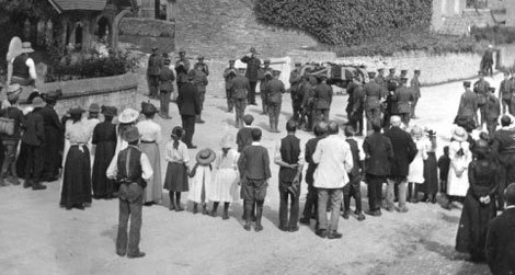 The funeral of James Idle in the village of Hullavington, on August 29, 1914