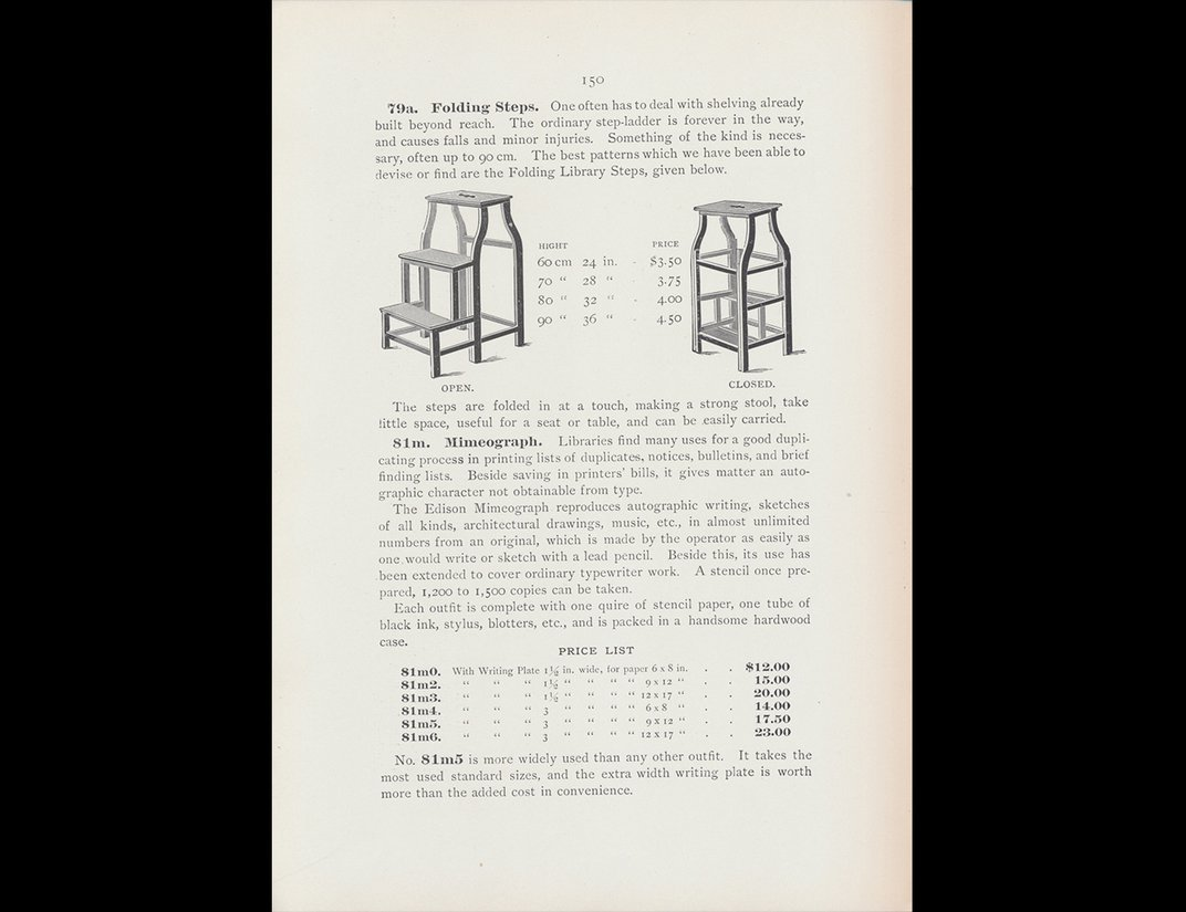 Trade catalog illustration of folding steps.