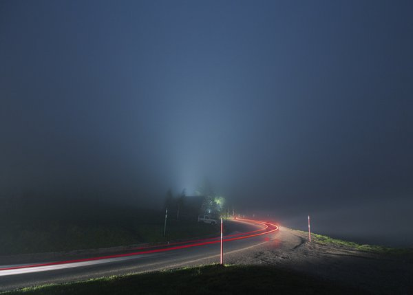 A trail of light on the road to the Pyrenees thumbnail