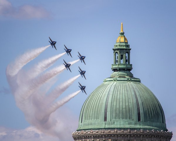Navy Blue Angels flying around the Naval Academy Chapel thumbnail