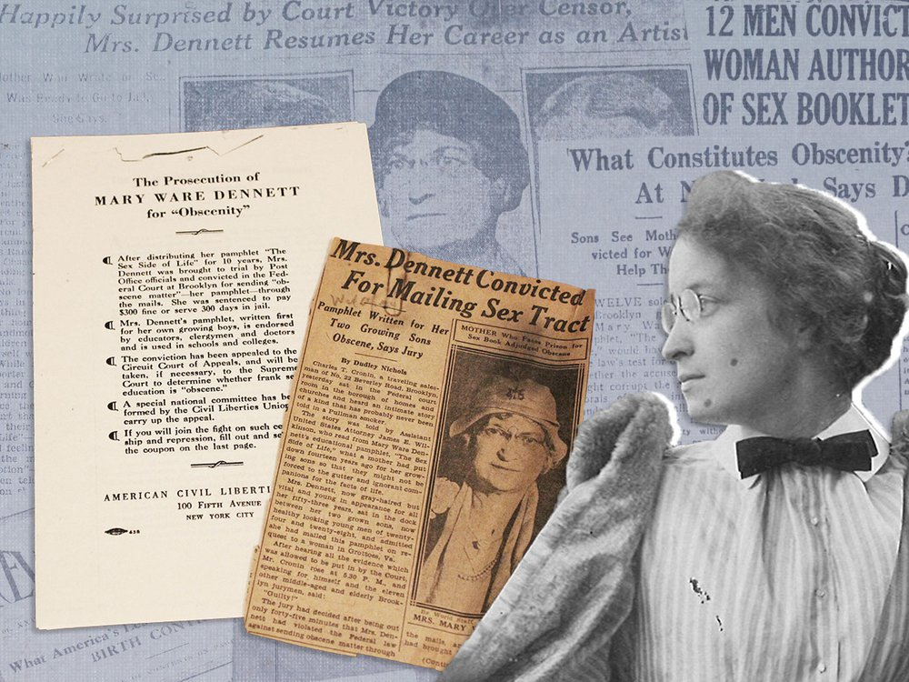 Photo of Mary Ware Dennett overlaid on newspaper headlines about the censorship case