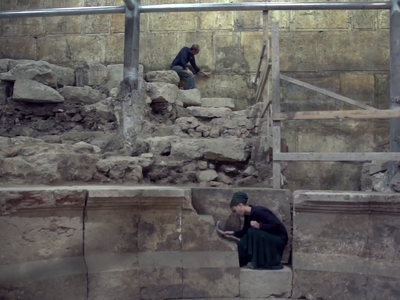 Archaeologists excavating a new theater uncovered near Jerusalem's Western Wall