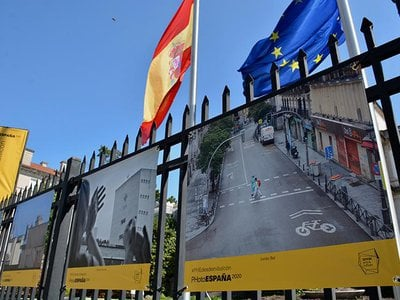 The Cultural Office of the Embassy of Spain in Washington is hosting a photography exhibit, PHotoEspaña, posted on the fence surrounding its historic mansion.