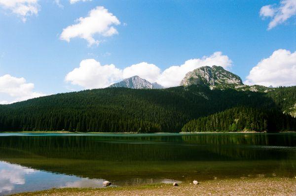 View of the Bobotov Peak from Black Lake on Durmitor thumbnail