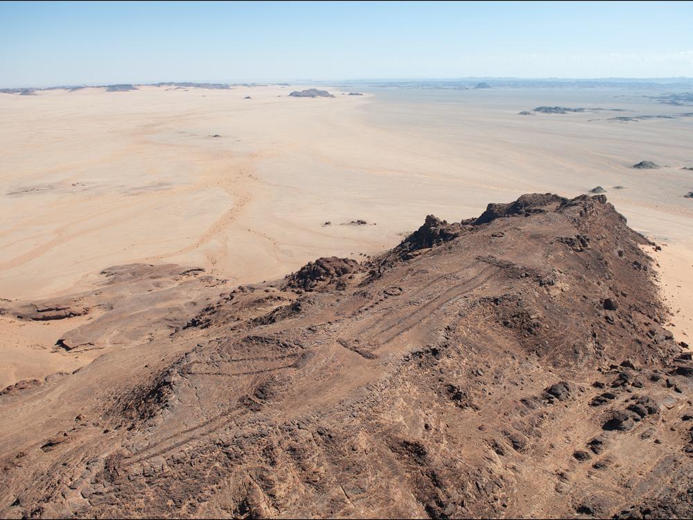 An aerial view of three mustatils in Saudi Arabia