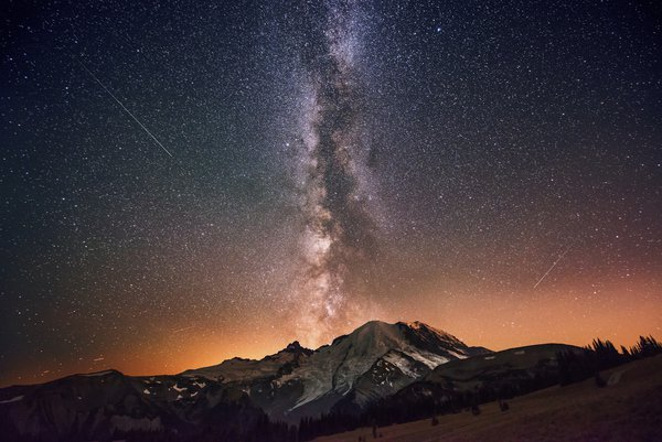 The Milky Way Galaxy Exploding from Mount Rainier. thumbnail
