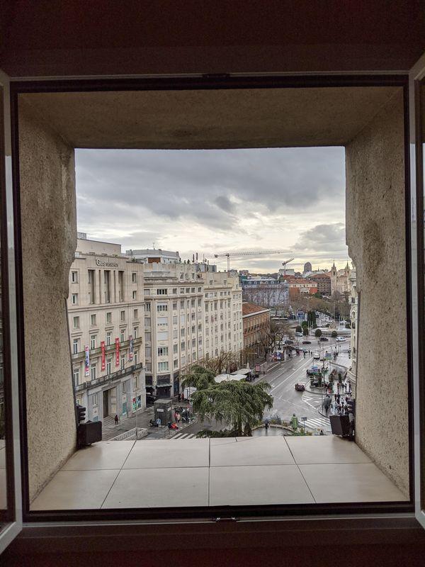 Plaza de las Cortes through the window thumbnail