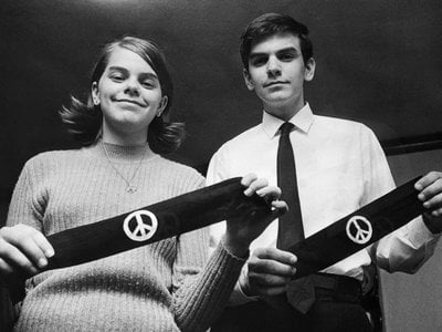 Mary Beth and John Tinker display their black armbands in 1968, over two years after they wore anti-war armbands to school and sparked a legal battle that would make it all the way to the Supreme Court.