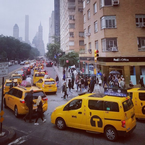 Yellow Taxis on Busy New York Street thumbnail