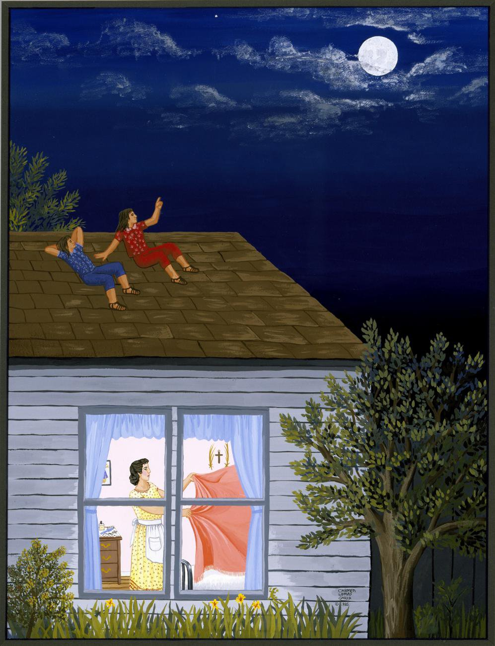 Artwork of a house at night. You can see a woman doing laundry through the window and two children are sitting on the roof, looking at the night's sky.
