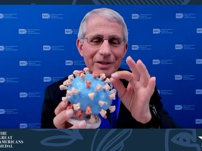 """Anthony Fauci, age 80, says museum director Anthea Hartig, """"defines service at the highest level and exemplifies the true meaning of a great American."""""""