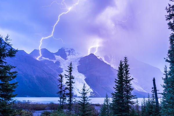 Lightning Strikes the Highest Peak in The Canadian Rockies thumbnail