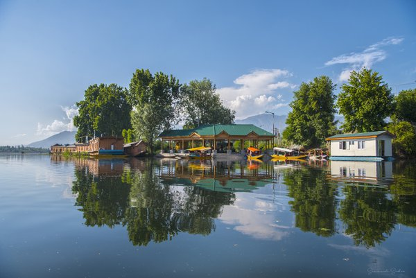 Reflection in Nigeen lake, Kashmir, India thumbnail