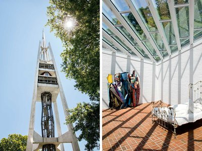 """From left: The bell tower of the """"Fish Church,"""" in Stamford, Connecticut; the Sculpture Gallery at Philip Johnson's Glass House, in New Canaan."""